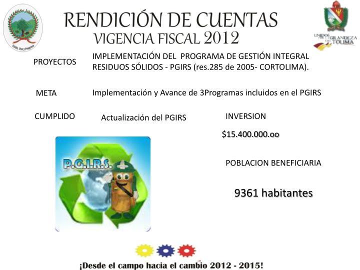 IMPLEMENTACIÓN DEL  PROGRAMA DE GESTIÓN INTEGRAL RESIDUOS SÓLIDOS - PGIRS (res.285 de 2005- CORTOLIMA).