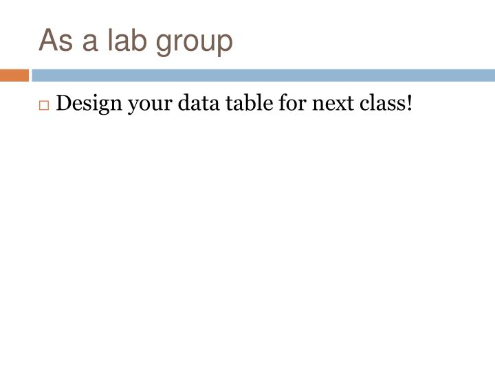 As a lab group