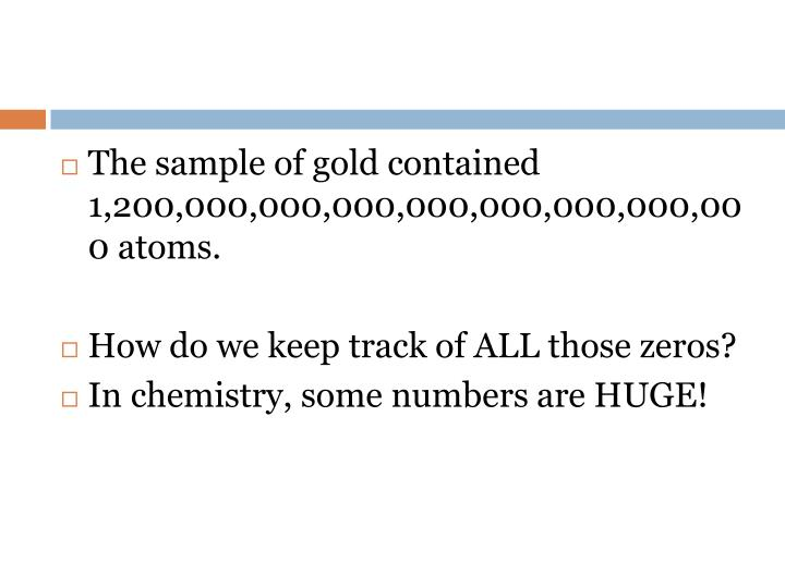 The sample of gold contained 1,200,000,000,000,000,000,000,000,000 atoms.
