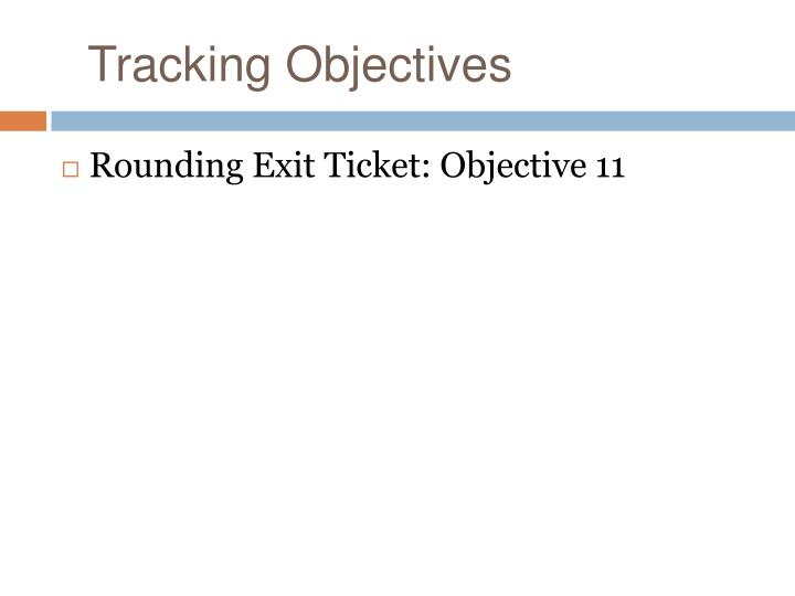 Tracking Objectives