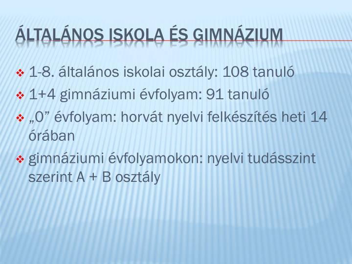 1-8. általános iskolai osztály: 108 tanuló