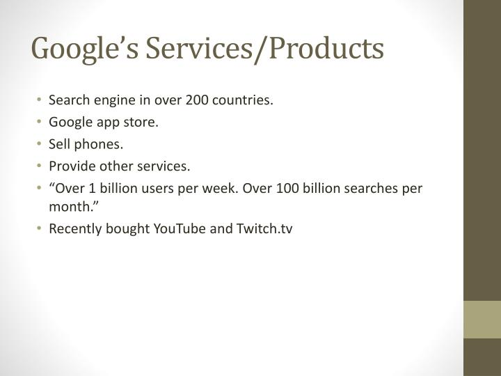 Google s services products