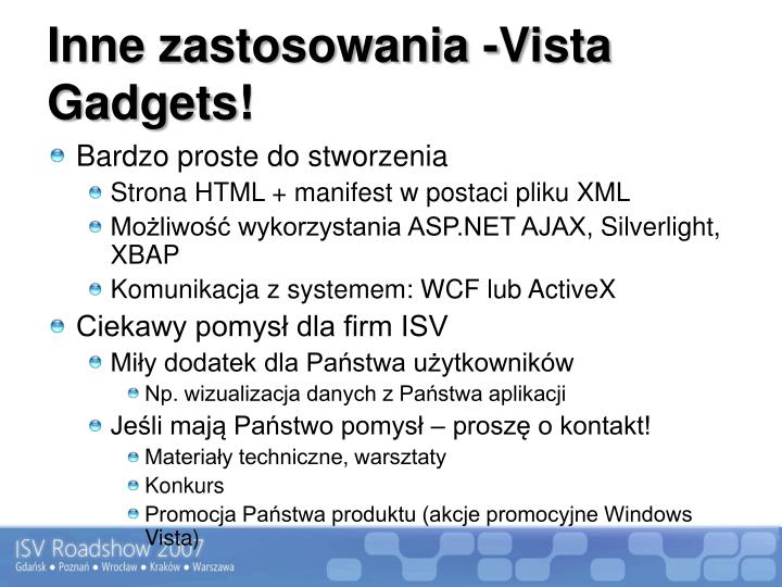 Inne zastosowania -Vista