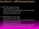 key point 1 apr clearance status