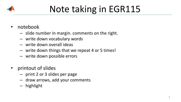 Note taking in egr115