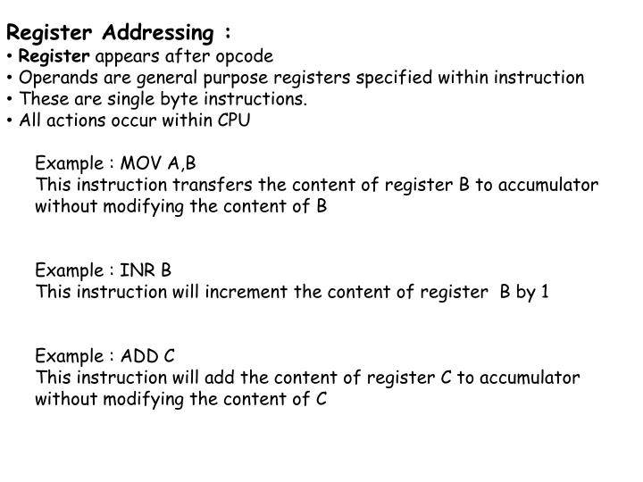 Register Addressing :