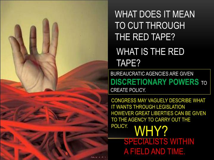 WHAT DOES IT MEAN TO CUT THROUGH THE RED TAPE?