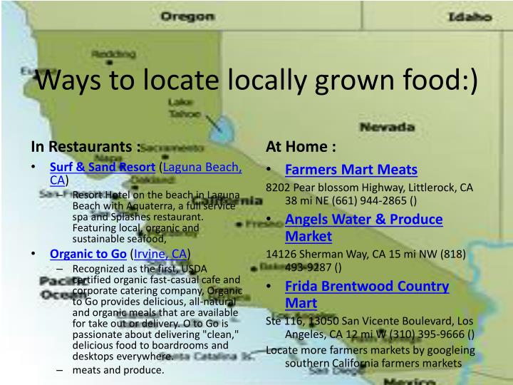 Ways to locate locally grown food:)