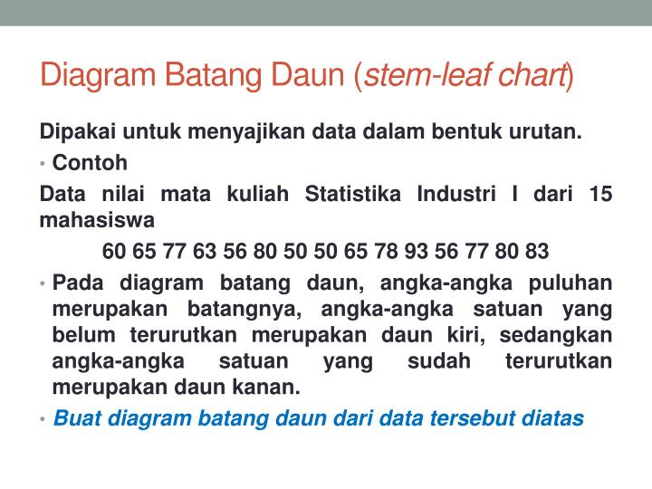 Ppt statistika industri i penyajian data powerpoint presentation diagram batangdaun stem leaf chart dipakaiuntukmenyajikan data dalambentukurutan ccuart Image collections