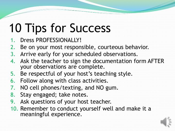 10 Tips for Success