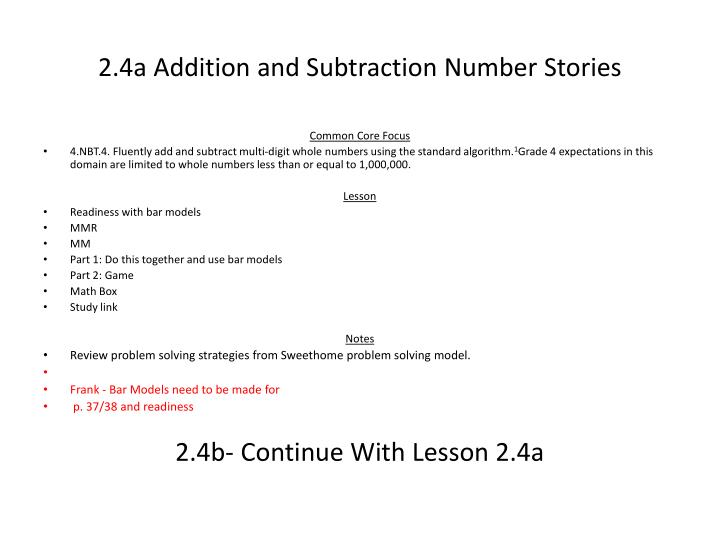 2.4a Addition and Subtraction Number Stories