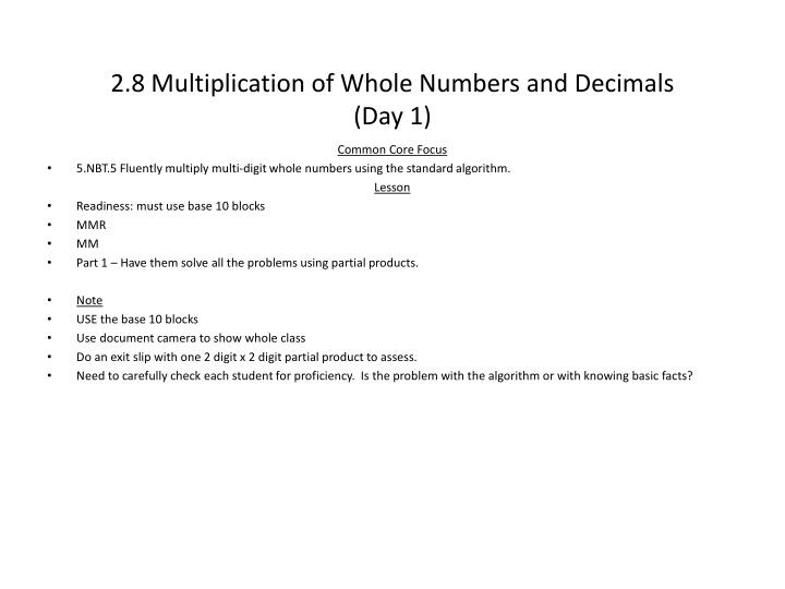 2.8 Multiplication of Whole Numbers and Decimals