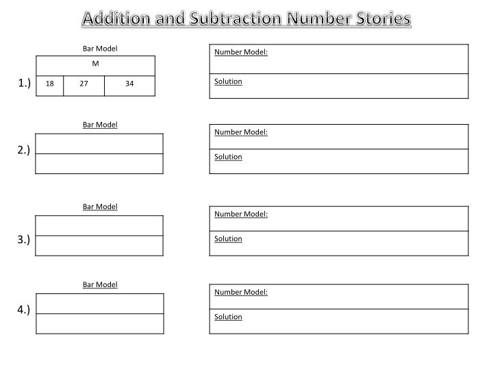 Addition and Subtraction Number Stories