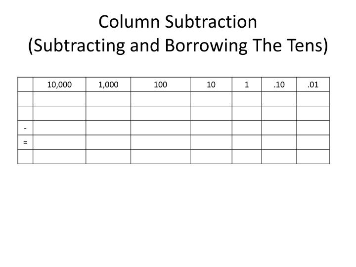 Column Subtraction