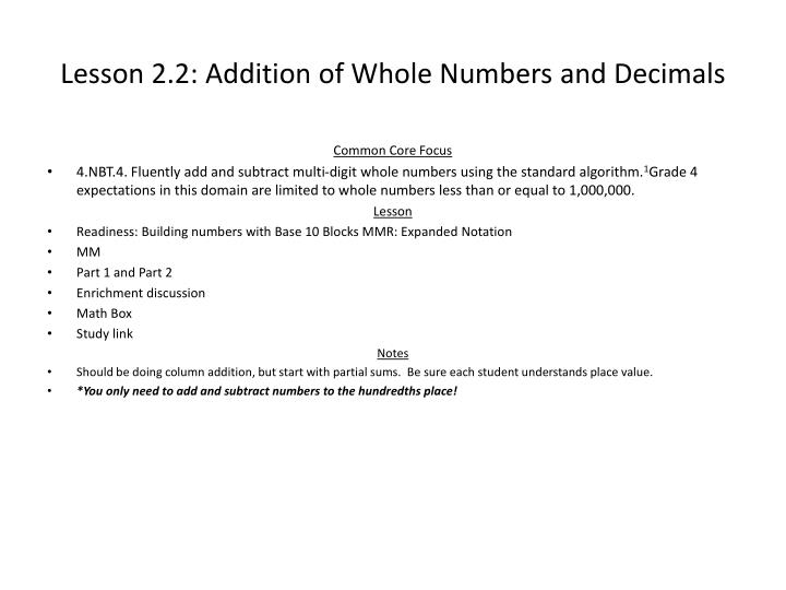 Lesson 2.2: Addition of Whole Numbers and Decimals