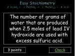 easy stoichiometry 2 h 2 so 4 1 pb oh 4 1 pb so 4 2 4 h 2 o2