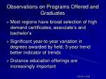 observations on programs offered and graduates