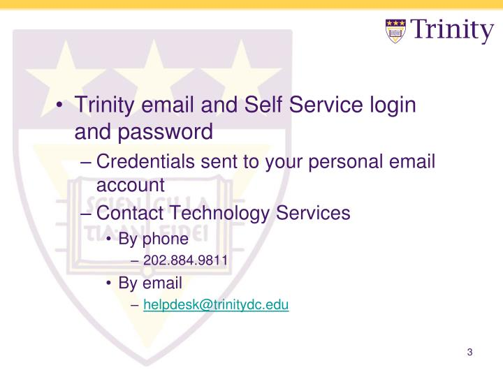 Trinity email and Self Service login and password