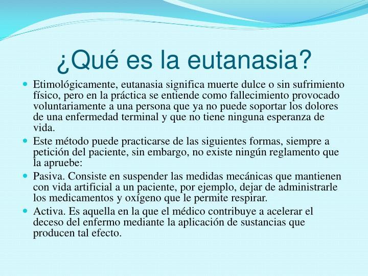 Qu es la eutanasia