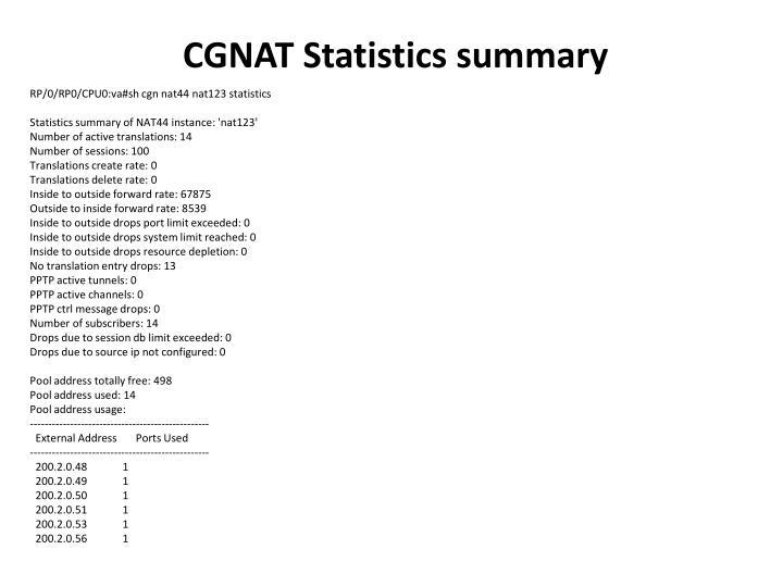 CGNAT Statistics summary