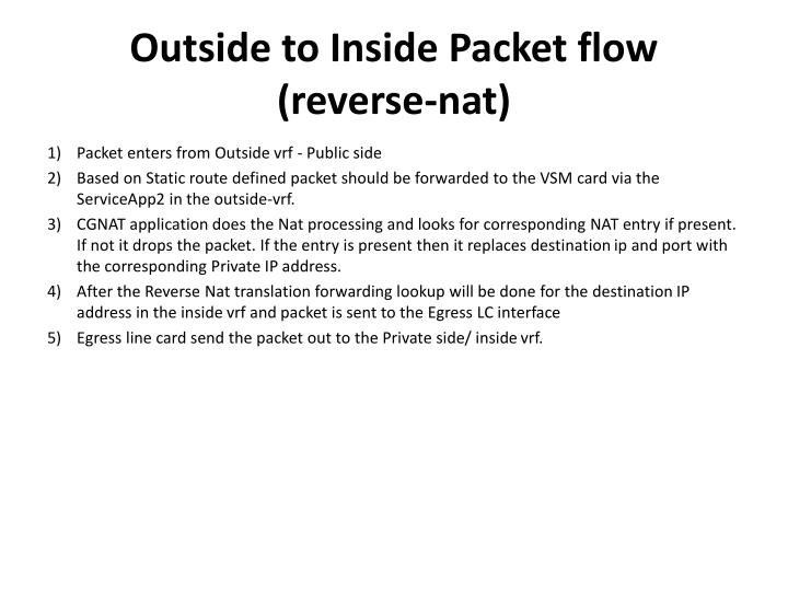 Outside to Inside Packet flow (reverse-