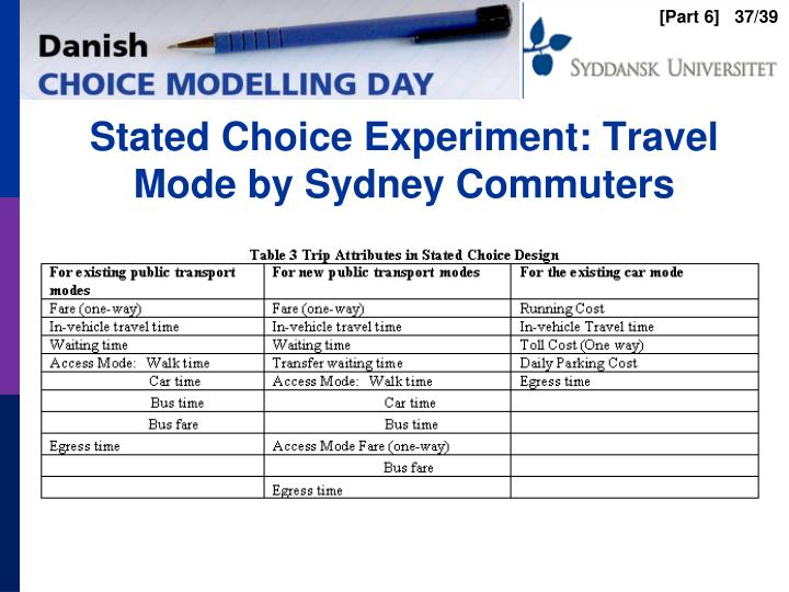 Stated Choice Experiment: Travel