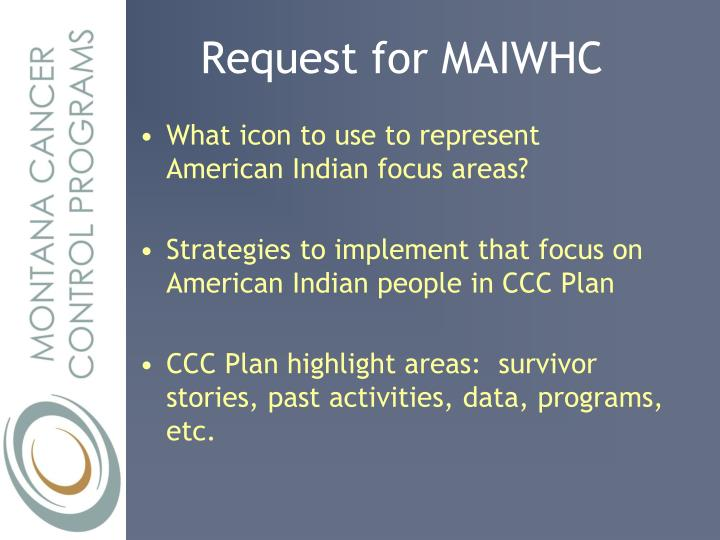 Request for MAIWHC