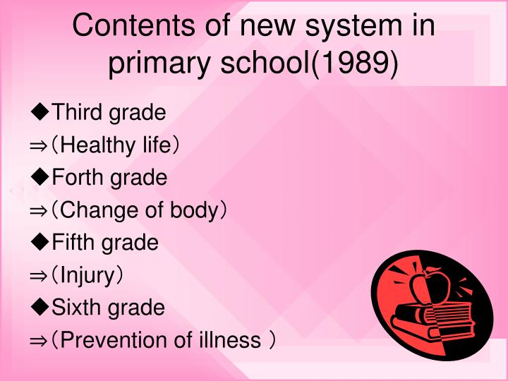Contents of new system in primary school 1989