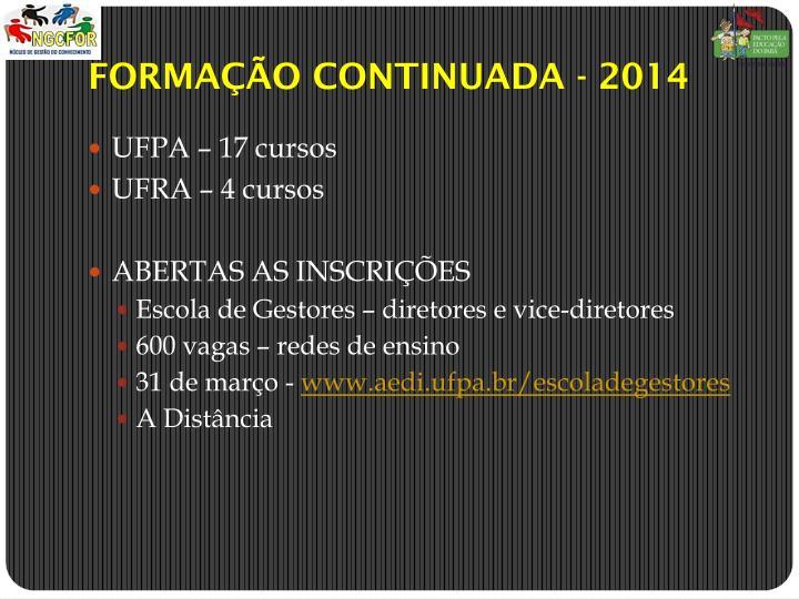 FORMAÇÃO CONTINUADA - 2014