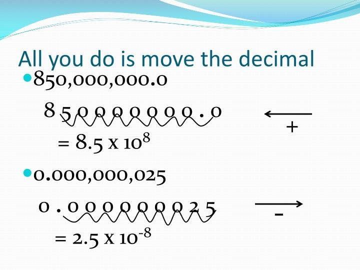 All you do is move the decimal
