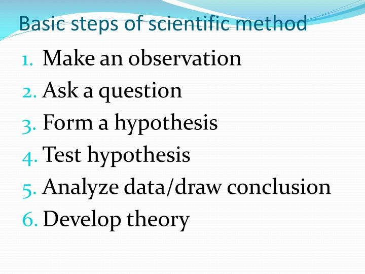Basic steps of scientific method