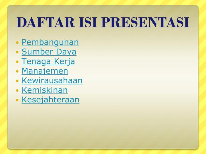 Daftar isi presentasi