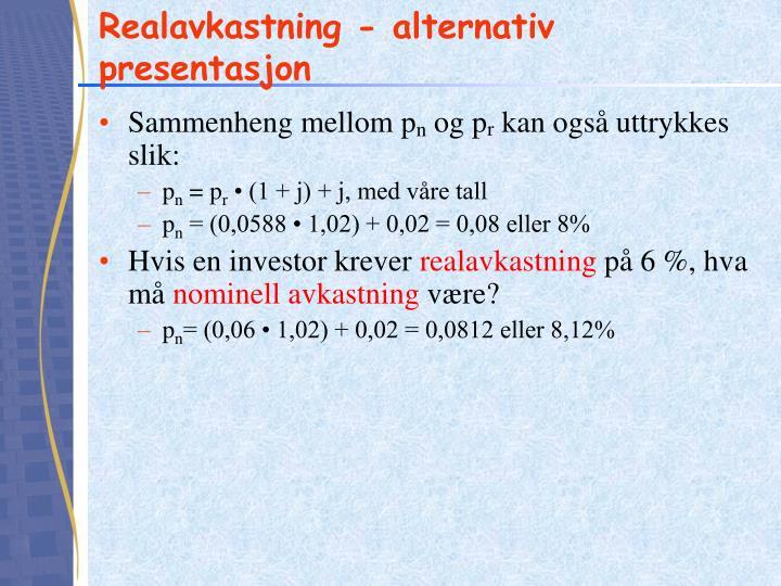 Realavkastning - alternativ presentasjon