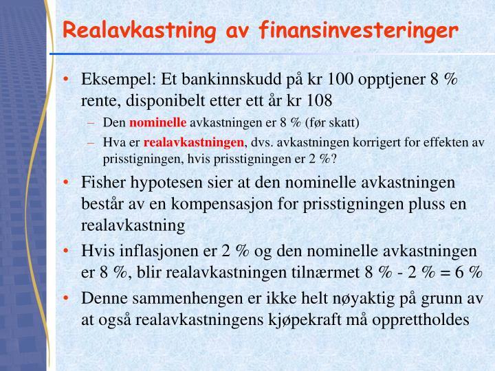 Realavkastning av finansinvesteringer