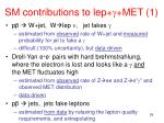 sm contributions to lep met 1