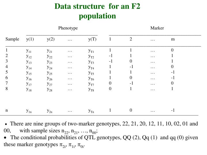 Data structure  for an F2 population