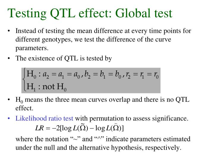 Testing QTL effect: Global test