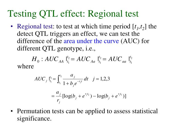 Testing QTL effect: Regional test