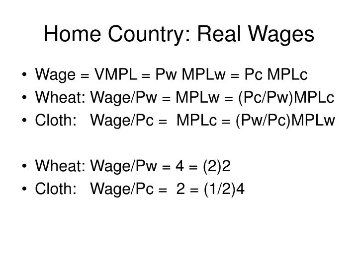 Home Country: Real Wages