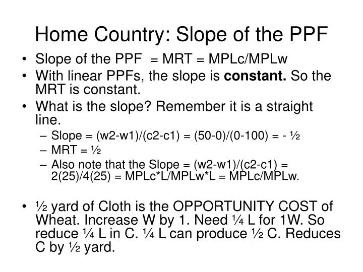Home Country: Slope of the PPF