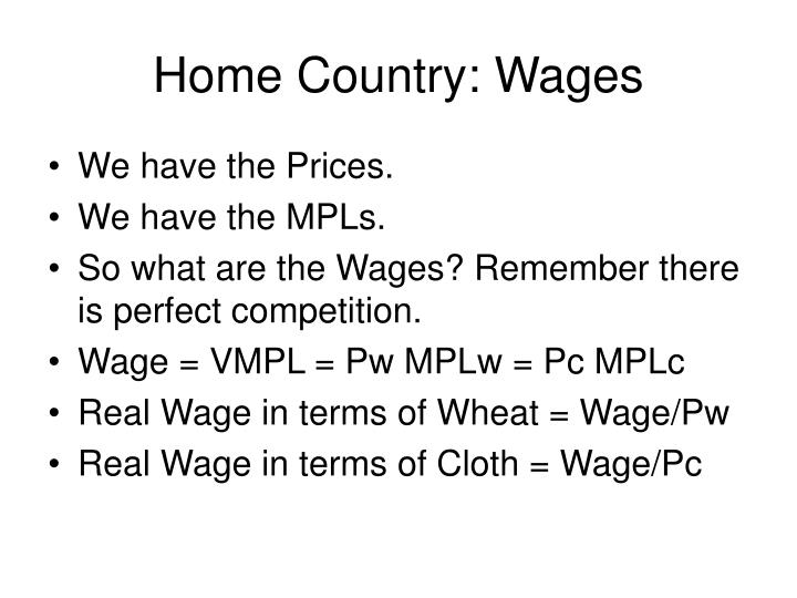 Home Country: Wages