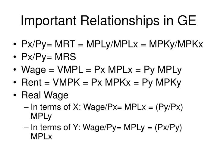 Important relationships in ge