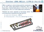 overview lbnl bella 1 3 pw @ 1 hz 1 2