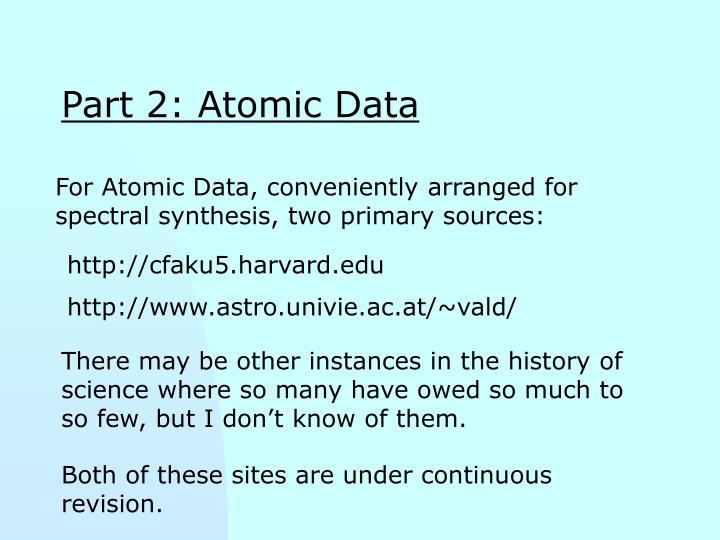 Part 2: Atomic Data