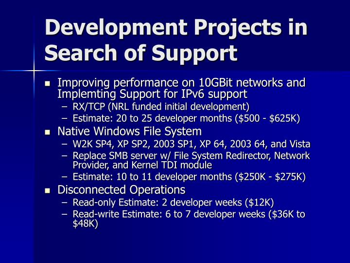 Development Projects in Search of Support