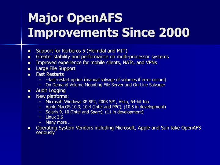 Major openafs improvements since 2000