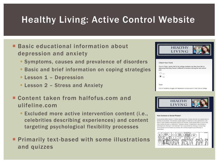 Healthy Living: Active Control Website