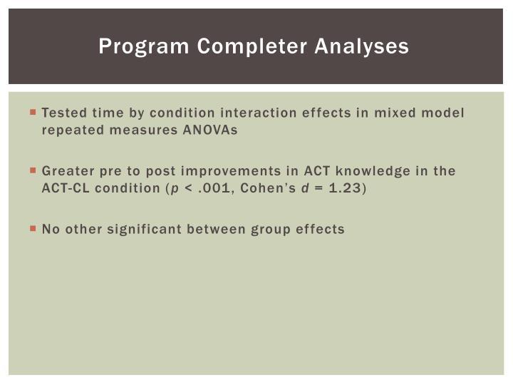 Program Completer Analyses