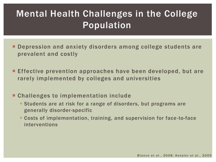 Mental Health Challenges in the College Population