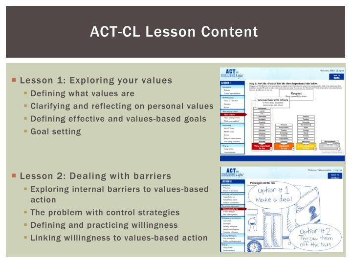 ACT-CL Lesson Content